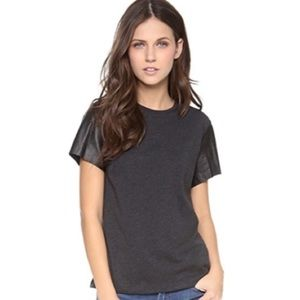 Vince. Cotton Tee with Lambskin Leather Sleeves